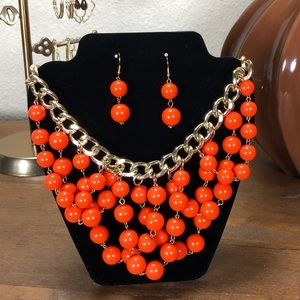 Orange Bead & Gold Tone Link Statement Necklace